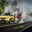 A Smart car transformed into a train