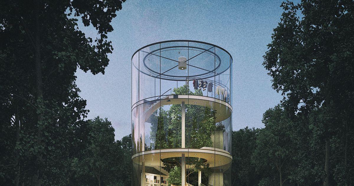 A tubular glass tree hugging house living plugin - The tubular glass house ...