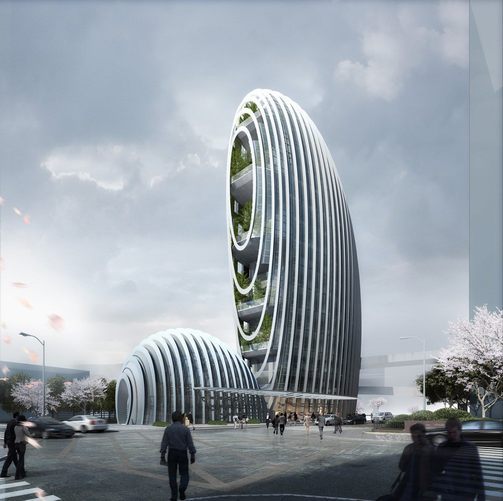 Aedas 39 pebble inspired l architecture building is almost for Taipei tower ball