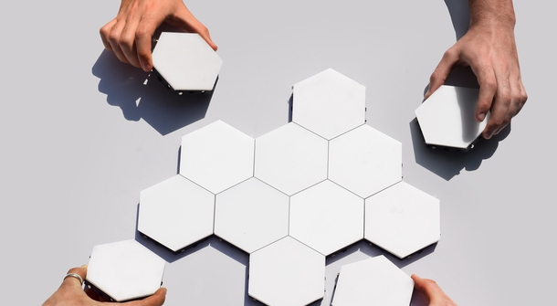 Helios Touch turns your wall into a beehive-like illuminated canvas