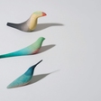 Decorative wooden birds by Moisés Hernández
