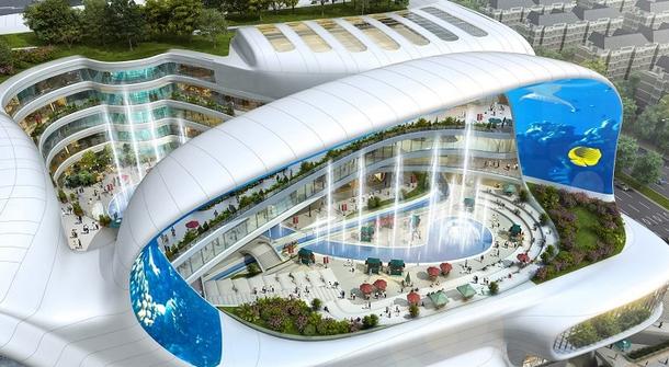 A Modern Shopping Mall: An Elevator Ride Through An Aquarium, And A Gondola Ride To Go Shopping