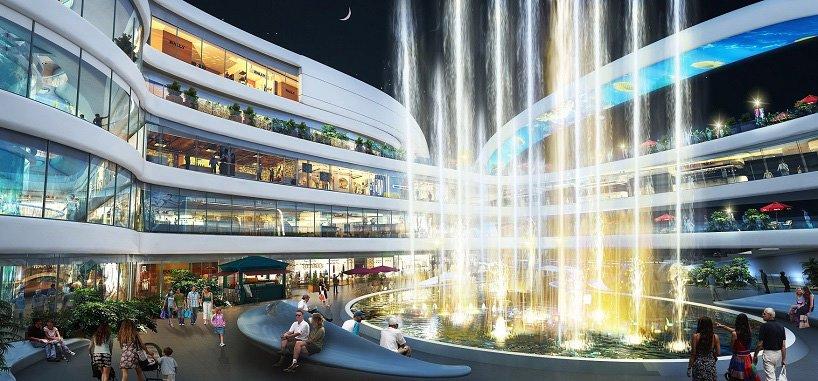 A Modern Shopping Mall An Elevator Ride Through Aquarium And