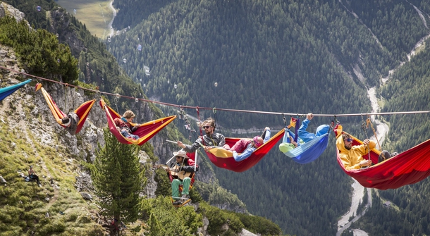 Only for the brave: sleeping in a hammock 300m above ground