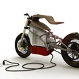 An electric motorcycle with a wooden saddle