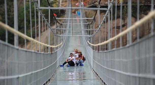 Dare you cross a glass-bottomed suspension bridge?