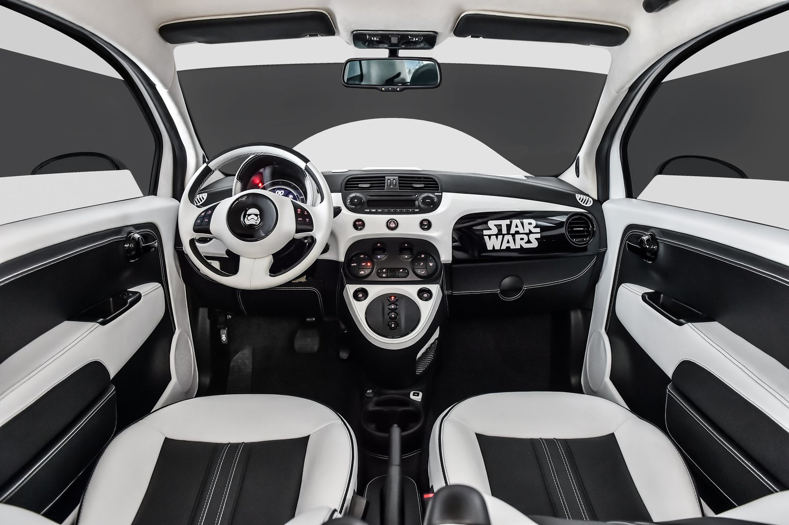 the fiat empire strikes with fiat 500e stormtrooper. Black Bedroom Furniture Sets. Home Design Ideas
