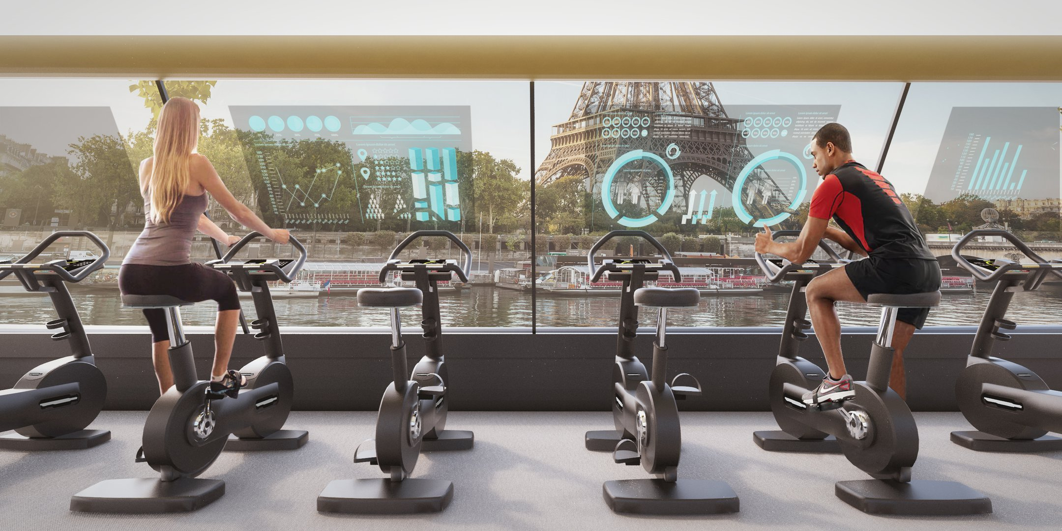Floating gym will move on the Seine due to the energy of its visitors 18