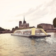 Cruising down the Seine River with man-powered floating gym