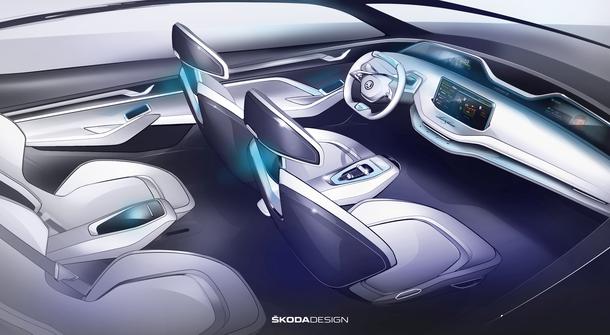 Škoda reveals the interior of Vision E concept