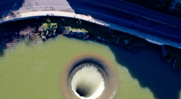 A lake hole as seen from a drone