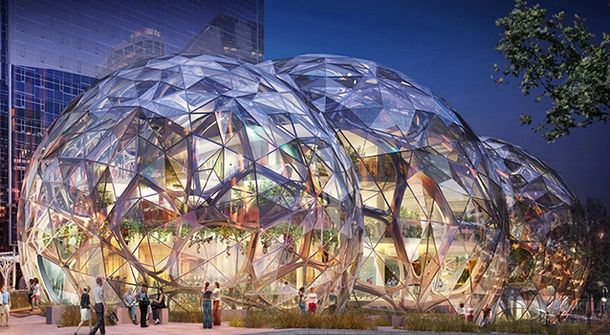 Amazon's building the Spheres with 450 plant species