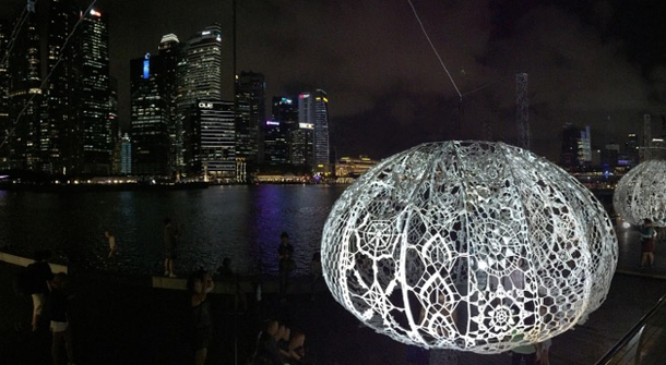 Three large crocheted Urchins decorated Singapore