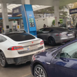 Zagreb (CRO) EV owners occupied petrol station